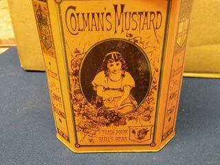 Vintage Colman s Mustard Tin Trade Mark Bull s Head 5 1 2  x 4  x 7