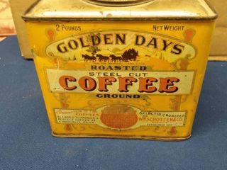 Vintage Golden Days Coffee Tin 6  x 4  x 6 1 2