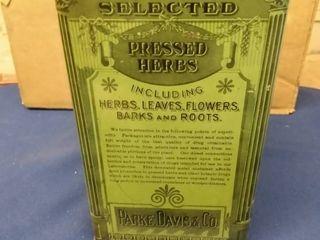 Vintage Parke  Davis   Co  Choice Botanic Drugs Tin 5  x 5  x 9