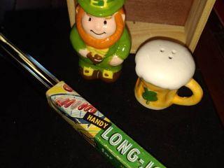 lucky leprechaun salt and pepper set and a pair of Handy long John tongs