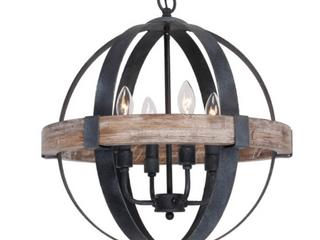 Farmhouse 4 light Weathered Oak Wooden Orb Chandelier