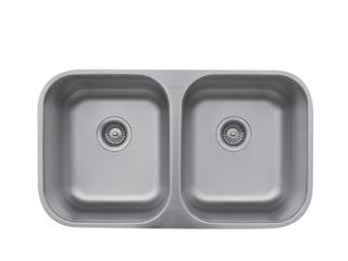 Karran Undermount Stainless Steel  50 50 Double Bowl Sink