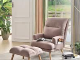 Ovios Velvet Recliner Chair with Ottoman