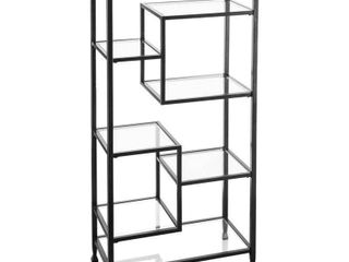 Southern Enterprises Jaymes Metal and Glass Etagere in Black  Retail   159 99