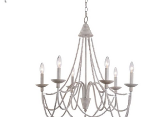 Kenroy Home 93918 Escapade 6 light 26 1 2  Wide Beaded Chandelier with   Weathered White