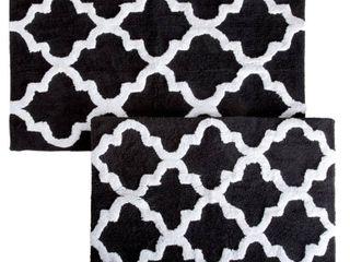 lavish Home Trellis Black 24 5 in  x 41 in  2 Piece Mat Set
