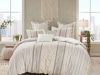 The Curated Nomad Clementina Cotton Printed Chenille Comforter Set   Ivory   Full   Queen  Retail    75 99