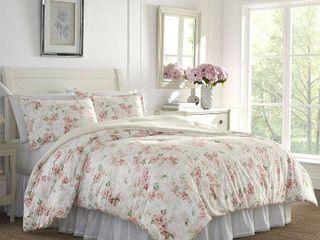 laura Ashley Wisteria Velour Full Queen Comforter Set Bedding