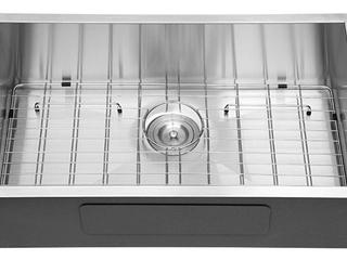 32 Inch Undermount Single Bowl Kitchen Sink with Basket Strainer