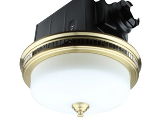 110 CFM Ceiling Exhaust Bathroom Fan with light and Nightlight   Gold