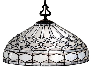 Tiffany Style Hanging Pendant lamp 18  Wide Stained Glass White Game living Dining Room Gift AM221Hl18B Amora lighting