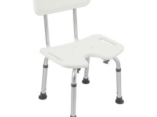 Adjustable Bath Seat Slip Resistant Shower Chair With Removable Back Rest White
