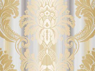 Set of 5 Rolls String Damask Wallpaper
