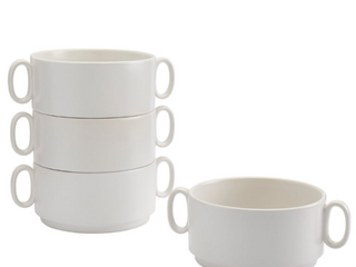 Tabletops Gallery 4PK 34oz Stackable Bowls with Handles