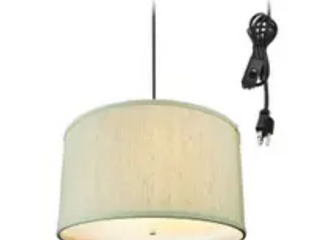 2 light Swag Plug In Pendant 16 w Textured Oatmeal with Diffuser  Black Cord  Retail 109 99