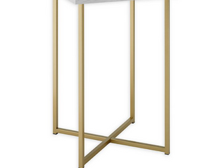 16 inch Square Side Table with White Marble Top and Gold legs