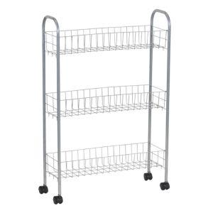 Household Essentials 3 Tier Storage Cart  Satin Silver