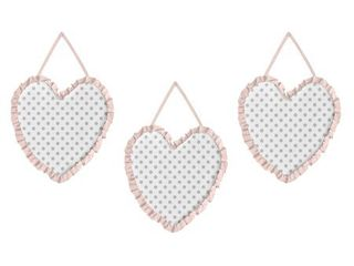 Sweet Jojo Designs Blush Pink  Grey and White Watercolor Floral Collection Wall Hangings  Set of 3