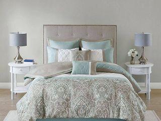 Cali King 510 Design Stacie Damask 8 Piece Bedding Comforter Set