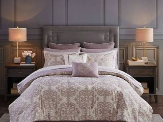 Madison Park Essentials Madeline Queen 16 Piece Jacquard Complete Bedding Set with 2 Sheet Sets Bedding