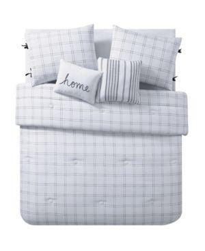 Vcny Home Farmhouse Reversible Stripe Comforter Set  Full Queen Bedding