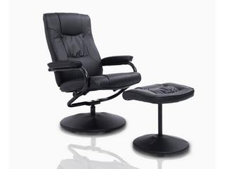 HOMCOM Ergonomic Faux leather lounge Armchair Recliner and Ottoman Set   Black