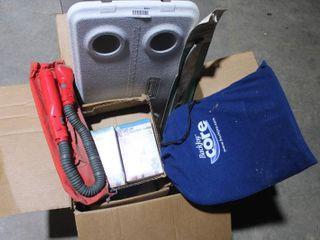 Box of misc  including heart rate monitors  flex light  etc