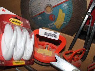 misc  box including  solderless wire crimper  yellow  car door spring compressor  radiator fin straightener