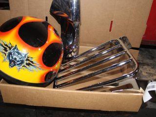 Motorcycle luggage rack  helmet  misc