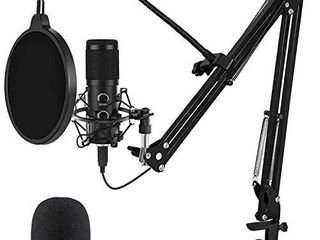 2021 Upgraded USB Microphone for Computer  Mic for Gaming  Podcast  live Streaming  YouTube on PC  Mic Studio Bundle with Adjustment Arm Stand  Fits for Windows   Mac PC  Plug   Play Design  Black