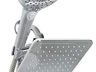 Home Basics  Silver 5 Function Dual Shower Massager with Rainfall Head Set