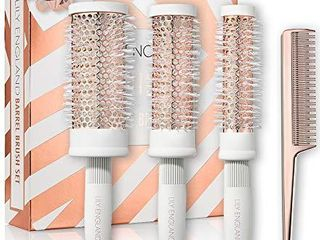 Round Brush Set   Radial Blow Drying Barrel Hairbrush Set   Tail Comb by lily England   White   Rose Gold