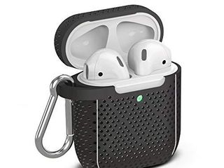 TalkWorks Hard Cover Case for AirPods   Protective Skin for AirPods Keychain Case Clip Compatible with Apple AirPods Carrying Case Series 1   2   Black