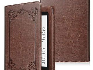 Fintie Folio Case for Kindle Paperwhite  Fits All New 10th Generation 2018   All Paperwhite Generations    Book Style Vegan leather Shockproof Cover with Auto Sleep Wake  Vintage Brown