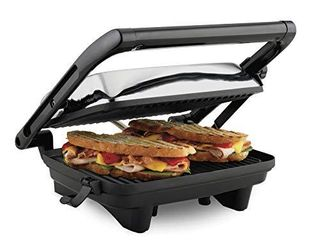 Hamilton Beach Electric Panini Press Grill with locking lid  Opens 180 Degrees for any Sandwich Thickness  25460A  Nonstick 8  X 10  Grids Chrome Finish  Medium