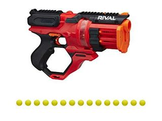 Nerf Rival Roundhouse XX 1500 Red Blaster   Clear Rotating Chamber loads Rounds into Barrel   5 Integrated Magazines  15 Nerf Rival Rounds  Missing Rounds