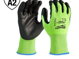 3 pair Milwaukee large High Visibility level 2 Cut Resistant Polyurethane Dipped Work Gloves  Hi Vis Yellow