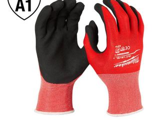 8 pair Milwaukee Medium Red Nitrile level 1 Cut Resistant Dipped Work Gloves
