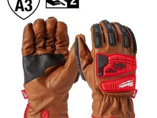Milwaukee X large level 3 Cut Resistant Goatskin leather Impact Gloves  Brown