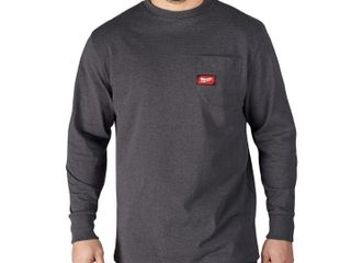 Milwaukee Men s large Gray Heavy Duty Cotton Polyester long Sleeve Pocket T Shir