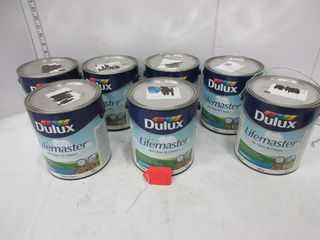 7 CANS lATEX PAINT   lIFEMASTER