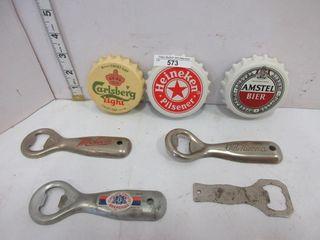 4 BOTTlE OPENERS  3 CAPS