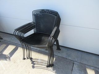 8 METAl STACKING PATIO CHAIRS