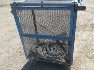 lARGE BlUE CAGE TOTE ON WHEElS W  CONTENTS