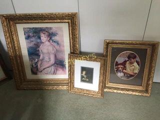 3 Framed Pictures   Gold Frame