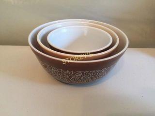 3 Pyrex Bowls   Brown