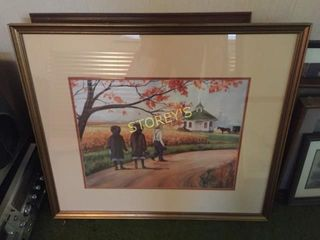 Framed Farm Picture   30 x 26