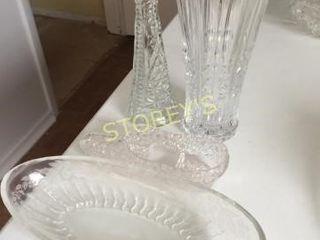 2 Crystal Vases  Shoe   Candy Bowl