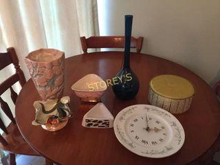 Clock  Vases  Tin  Decor  Etc