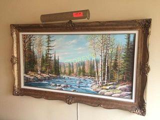 Framed Oil Painting w  lamp   48 x 27